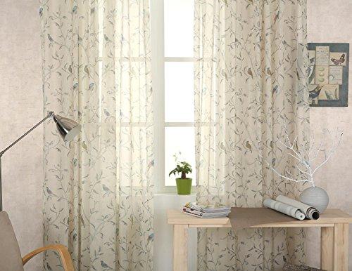 Pannello tenda shabby chic motivo uccelli orientali con occhielli, in voile, x 1 – crema – 182,9 cm (189 cm) drop
