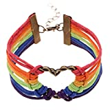 Ishow, bracciale LGBT Pride, arcobaleno multicolore, in caldo tessuto in nylon, con ciondolo a forma di cuore, unisex