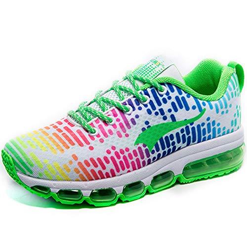 ONEMIX Scarpe da Ginnastica Corsa Sportive Uomo Donna Fitness Running Air Cushion Sneaker Bianco/Verde 40 EU