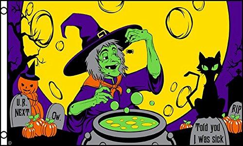 Hexe macht Ihren Potion unter einem Full Moon Halloween 5'x3' (150cm x 90cm) Flagge