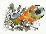 3D Aufkleber wand Fußball 3D Wandsticker Wandaufkleber Wandtattoo Selbstklebend Wanddeko Aufkleber deko DIY Wandbilder für Wohnzimmer Kinderzimmer Kinder Junge (TYP-1)