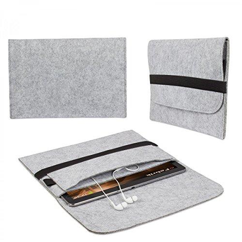 eFabrik TrekStor SurfTab Wintron 10.1 (10,1') Zoll Tasche Tablettasche Schutztasche Case Soft Cover Schutzhülle Filz hell grau