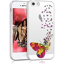 kwmobile Funda para Apple iPhone SE / 5 / 5S - Case para móvil en TPU silicona - Cover trasero Diseño enjambre de mariposas en multicolor rosa fucsia transparente