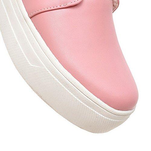 VogueZone009 Femme Tire Rond à Talon Bas Couleur Unie Chaussures Légeres Rose