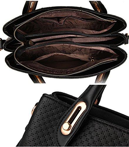 MissFox Borsa A Spalla Donna Borse A Mano Borsa Messenger Donna Vintage Cerniera Design Tote Nero
