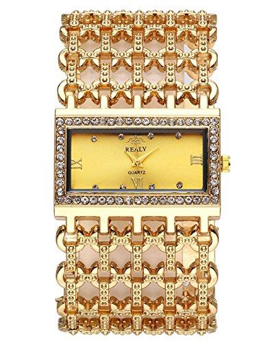 JSDDE Uhren,Mode Strass Armbanduhr Rechteck Damenuhr Metall-Band Armkette Armreif Uhr Analog Manschette Quarzuhr,Gold