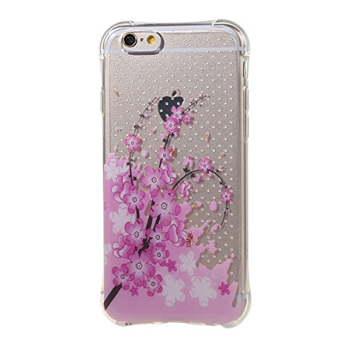 Coque Housse Etui pour iPhone 6S Plus, iPhone 6 Plus Coque en Silicone, iPhone 6 Plus/ 6S Plus Slim Coque Transparent Soft Etui Housse,iPhone 6 Plus/ 6S Plus Silicone Case TPU Protective Gel Cover Ski prune fleur