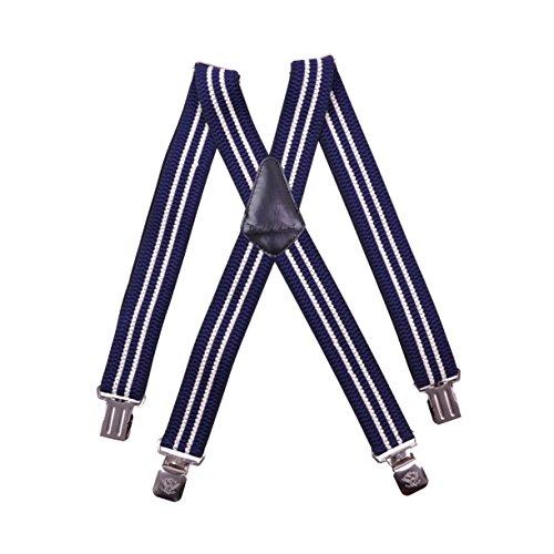 Paolo Udini X Bretelles Homme 4cm Entièrement Réglable Bleu Marine Jaune Clair