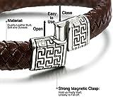 Sailimue Edelstahl Geflochten Leder Armband für Herren Damen Armbänder Seil Magnetverschluss 20.5-21.5CM - 2