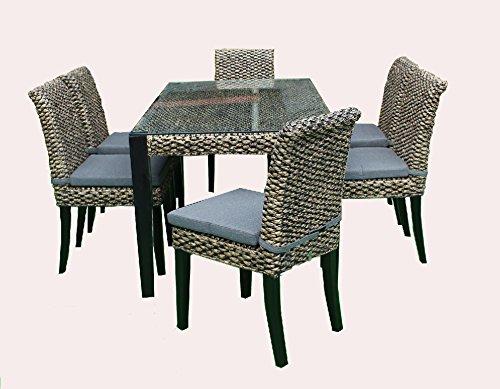 RATTAN Wasserhyazinthe Lounge Essset Alicante 13 Teilig Esstisch Stuhl Set Essgruppe Tischgruppe Esstischgruppe Sitzgruppe Esszimmergarnitur MASSIVHOLZ RAHMEN