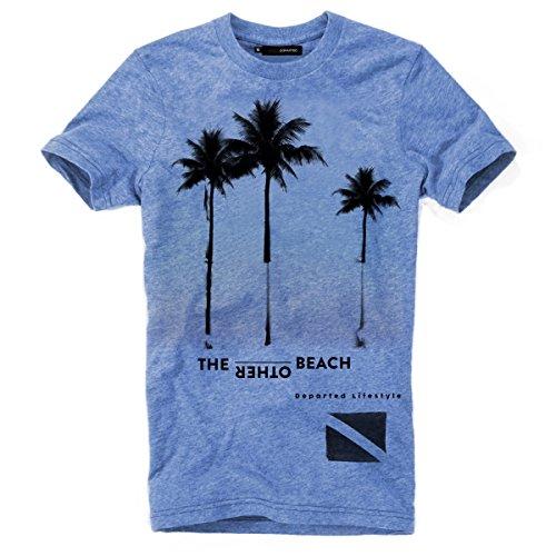 DEPARTED Herren T-Shirt mit Print/Motiv 3821-240 - New fit Größe M, Bliss Blue Triblend -