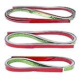 Quilling-Set metallic, 150 Folien-Streifen, 3 Größen (5mm, 7mm, 10mm), 54cm lang, Holografie, rot & grün   Quilling-Streifen aus Spiegelfolie zum Basteln   Fröbel-Sterne, Weihnachtssterne, Blüten, Fensterbilder basteln