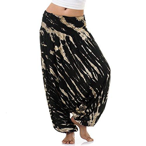 Batik Hippie Hose Haremshose Aladinhose Pumphose für Damen & Herren 36 38 Schwarz (Harem Hose Schwarz)