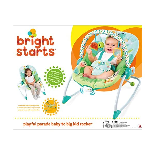 Bright Starts Playful Parade Baby to Big Kid Rocker Bright-Starts Seat can rock back and forth to soothe, or can be set to a fixed position for small babies and older toddlers Full body recline with 2 positions Soothing vibrations 14