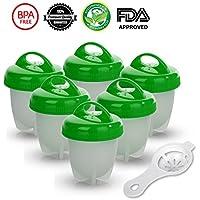 Hervidor de Huevos - 6 Hueveras Antiadherente Huevos Escalfados Cocedor [Sin BPA/Aprobado por la FDA/Aptas para el Lavavajillas] con Separador de Huevo (Verde)