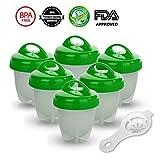 GESUNDHOME Hervidor de Huevos - 6 Hueveras Antiadherente Huevos Escalfados Cocedor [Sin BPA/Aprobado por la FDA/Aptas para el Lavavajillas] con Separador de Huevo (Verde)