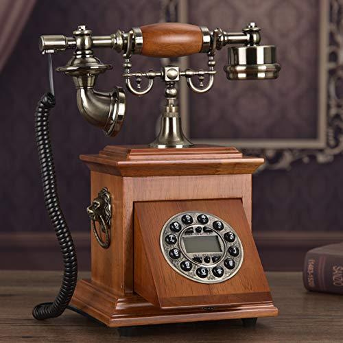 PP&DD Massivholz Vintage Retro Telefon, Schnur Antik Telefon,elektronische Klingelton Festnetz Schreibtisch Telefon Hotel Home-h Telefon-klingelton