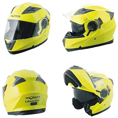 Casco Modulare Apribile Moto Touring Sport Visiera Parasole Giallo Fluo L