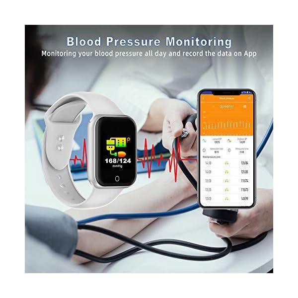 Reloj Inteligente, 1.4 Inch Smartwatch with Monitoreo de presión Arterial, Pulsómetro Impermeable IP68 Pulsera Actividad con Inteligente de Podómetro y Monitoreo del Sueño para Android y iOS 4