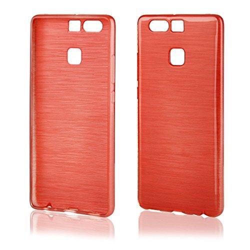 EGO® Silikon Case (für Huawei P8 Lite, Schwarz Transparent) Cover, Tasche, Metallic Effect Rot Transparent