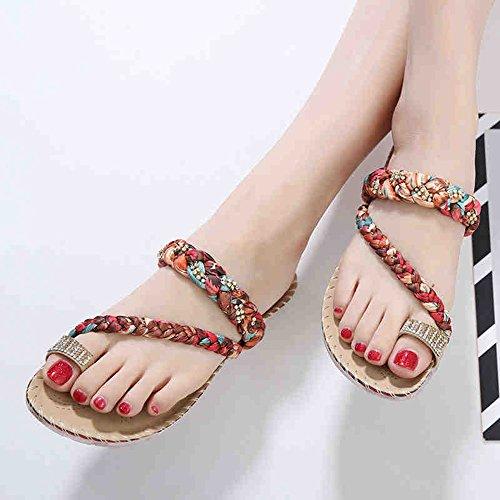 Sandales / pantoufles diamantées Été confortables pantoufles plates de 2 couleurs ( Couleur : 1001 , taille : EU38/UK5.5/CN38 ) 1002