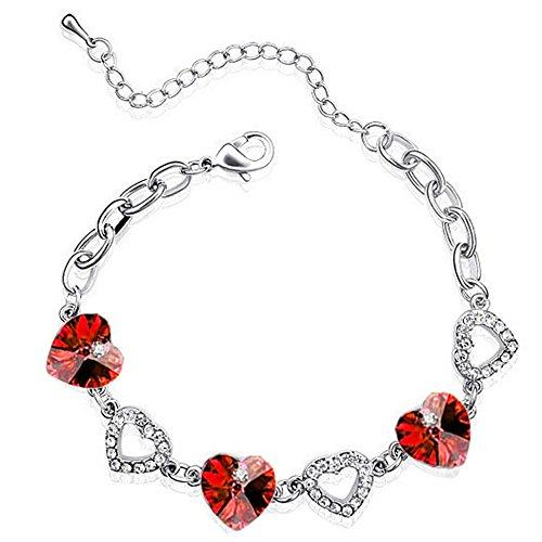 BB55 Armband, rote Herzen und Silberkristalle, elegant und romantisch