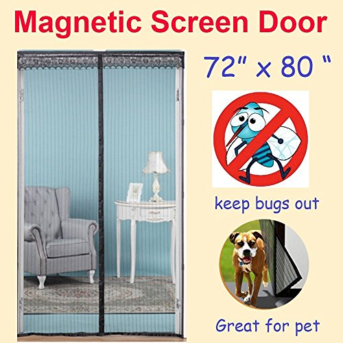 magnetic-screen-door-fit-door-72w-x-80hfull-frame-velcrohands-free-bug-mesh-curtainclose-automatical
