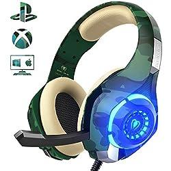 Cascos de Camuflaje para PS4 / PC / Xbox One, Beexcellent 2019 Auriculares de Última Generación con Sonido Cristalino en Altos, de Diadema Cerrados con Reducción de Ruido (Tiene un Adaptador 2 en 1)