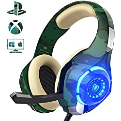 Beexcellent GM100 - Auriculares gaming estereo con micrófono - PS4, Nintendo, Xbox, Wii, PC - Camuflaje