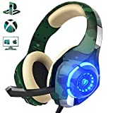 Gaming Headset f�r PS4 PC, Beexcellent Super Komfortable Stereo Bass 3.5mm LED Camouflage Kopfh�rer mit Mikrofon f�r Xbox One, Laptops, Mac, Tablet und Smartphone (Gr�n) Bild