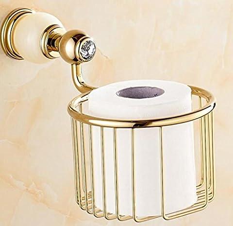 USDFJN porte papier toilette Rouleaux WC Supports pour papier essuie-tout Cercle d'or de cuivre de style européen