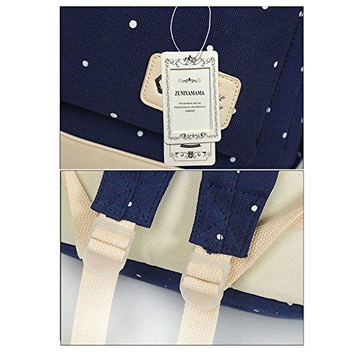 ZUNIYAMAMA 3 Set leichte Mini Leinwand Rucksack + Schultertaschen + Geldbörse für Teen Mädchen Laptop Schule Tasche tiefes Blau hell blau