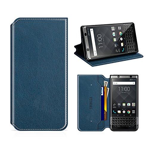 Swingga BlackBerry KEYone Hülle, Handyhülle Premium Leder Tasche Flip Case Schutzhülle für BlackBerry KEYone,Dunkel Blau