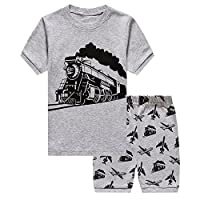 DHASIUE Little Boys Pyjamas Shorts Set Toddler Summer Clothes Dinosaur Sleepwear Cotton 2 Piece Kids Pjs Size 1-7 Years