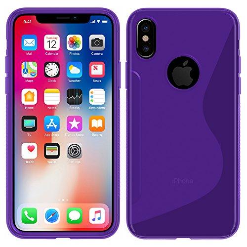 Apple iPhone X - TPU Schutzhülle S-Style S Design Case Schutz Cover Etui Hülle in Weiß - RT-Trading Lila