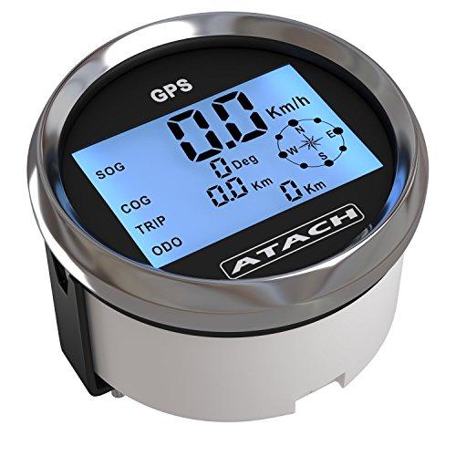ATACH GPS-Tacho, digitaler Geschwindigkeitsmesser mit Rekord-Anzeige und blauer Hintergrundbeleuchtung, Display ca. 85mm (3,375Zoll) (Automobil-digital-kompass)