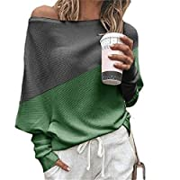 S-Fly Women's Contrast Colors Off The Shoulder Casual Top Long Sleeve T-Shirt Tops Green L