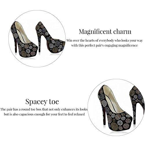 Trend-Stern-Frauen-Absatz-Plattformschuhe verziertes Schädel-Partei-Hochzeits-Diamantgröße 3-8 Still 4 - Champagner