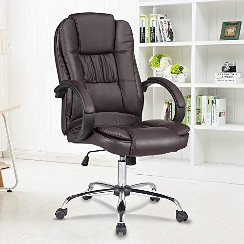 mecor Chefsessel Bürostuhl PU Leder, Drehstuhl 100kg Belastbarkeit, Schalensitz Schreibtischstuhl Braun