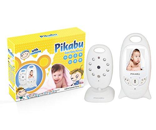 Terraberk Pikabu - Allarme Digitale per Neonato Wireless con Monitor a colori LCD di 2 pollici + Fotocamera, Video, Audio bidirezionale, Visione Notturna e 8 suoni lullaby