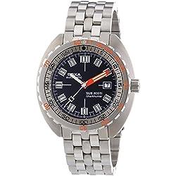 DOXA SUB 800Ti Sharkhunter Herren Automatik Uhr mit schwarzem Zifferblatt Analog-Anzeige und Silber Edelstahl Armband 801.50.101.11