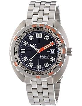 DOXA SUB 800Ti Sharkhunter Herren Automatik Uhr mit schwarzem Zifferblatt Analog-Anzeige und Silber Edelstahl...