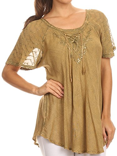 6 Damen Designer Bluse (Sakkas 15783 - Ellie Pailletten bestickte Kappen-Hülse mit rundem Halsausschnitt entspannt Passform Bluse - Light Braun - One Size Plus)