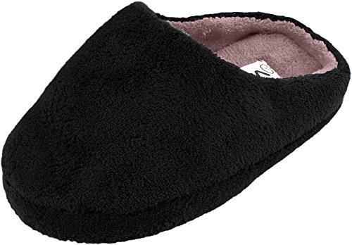 Damen Hausschuh Pantoffeln Flausch Microfaser und rutschfester Sohle Schwarz