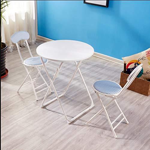 Du hui 3-teiliges Klapp-Patio-Set für den Außenbereich - mit Tisch, 2 Stühlen, Gartenmöbeln für den Innen- und Außenbereich, rundem Tisch und Klappstühlen aus Eisen - Schmiedeeisen Patio-möbel-sets