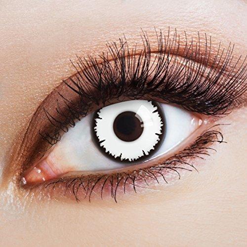 aricona Kontaktlinsen - farbig deckend weiß - farbige Vampir Kontaktlinsen für einen Horror Halloween Look - weiße Jahreslinsen