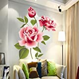 Gemini_mall® Pink Rose Flower Vinyl Home decor Wall Art Decal Sticker Removable DIY Living Room Decoration