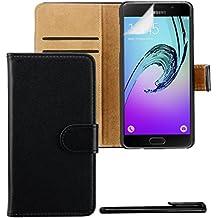 4in1 Housse Portefeuille pour - Samsung Galaxy A5 (2016) - Flip Case étui de protection / Pochette téléphone avec fentes pour cartes / Fonction chevalet réglable, NOIR + 1x Stylet + 1x Film de protection