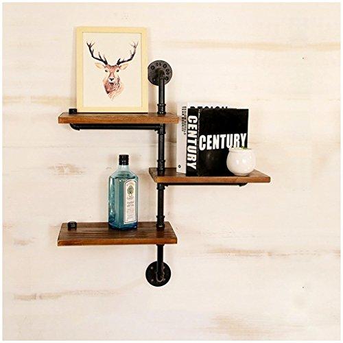 XX Neue Wand Regal Loft Industrial Retro Stil Holz + Eisen Rohr Wand Dekorationen Regal für Wohnzimmer, Bücherregal, Lagerregal,* 4 * (4 Bücherregal Regal-platz)