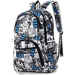 Maod Mochila de Escolar Oxford Tela Bolsa de Ordenador Resistente al Agua Bolso del Senderismo Juveniles Casual Backpack de Viaje Diario (Azul 3)